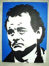 Canvas Painting Bill Murray Portrait Blue B&W Art 16x12 inch Acrylic