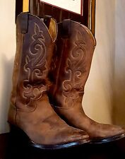 Men's Brown Leather Western Style Cowboy Boots Sz 9 US Made Country Footwear