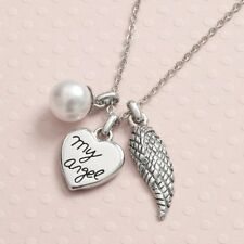 My Angel Heart, Wing & Pearl Pendants on Silver Tone Chain Necklace