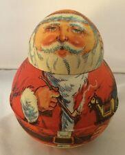 Vintage Roly-Poly Tin Santa Claus California Almonds Fresno Trading
