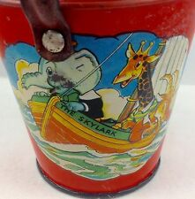 ANTIQUE TIN RARE SAND PAIL COMICAL ANIMALS IN BOATS RELIABLE SERIES ENGLAND 1950