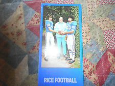 1973 RICE OWLS FOOTBALL MEDIA GUIDE Yearbook TOMMY KRAMER Program Press Book AD