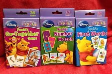 Lot Of 3 Disney Winnie the Pooh FLASH CARDS -1st Words-Numbers Match-GoTogether