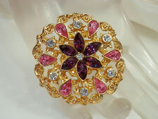 Pretty Vintage 1980s Pink & Purple Rhinestone Flower Brooch  844B
