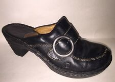 "BORN Womens Size 9 40.5 Black Leather Mules 3"" High Heels Slip On Shoes Clogs"