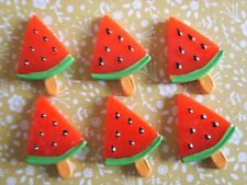 6 x Cute Slice Fruit Watermelon Flatback Resin Embellishment Crafts Cabochon UK