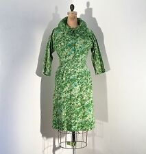 Vintage 1950s/60s Green Water Color Print Cotton Wiggle Dress & Bolero Jacket