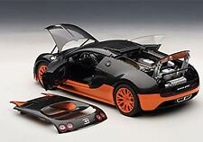 Autoart BUGATTI VEYRON SUPER SPORT CARBON BLACK/ORANGE SIDE SKIRTS 1/18 Rare!