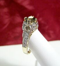 RARE RRJ 14K YELLOW GOLD ROUND CHAMPAGNE DIAMONDS AND SMOKY QUARTZ RING SIZE 8.5