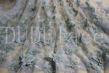 Light Blue 3D Butterfly Flower Lace Fabric with Vivid Butterfly Dress Lace 59''