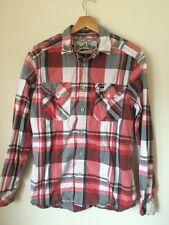 Drift King Size S rojo/gris cheque de algodón camisa de mangas largas < T3531