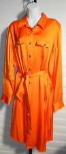 Lauren Ralph Lauren Orange Belted Shirt Dress Sz 16W $160 NWT