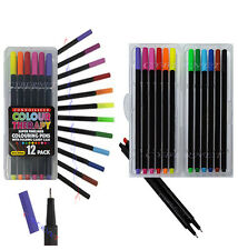 12 Colour Therapy Super Fineliner Colouring Pens Drawing Art 0.5mm Folding Case
