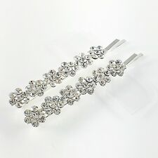 USA Bobby Pin Rhinestone Crystal Hair Clip Hairpin Jeweled Flower Silver New B17