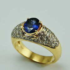 Ceylon Sapphire Diamond Engagement Ring 14K Gold Solitaire Oval Cut Blue R3713