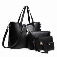 4-pieces Women Handbag Purse Leather Ladies Shoulder Messenger Hobo Bag black