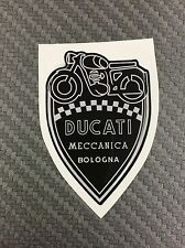 1 Stickers Scudetto DUCATI Meccanica Vintage Black & White 3D resinato 100 mm