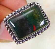 BEAUTIFUL HANDMADE NATURAL BLOODSTONE RING STERLING SILVER SETTING