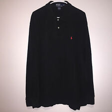 MENS BLACK POLO RALPH LAUREN PONY LOGO MESH KNIT L/S RUGBY SHIRT 2XL GOLF