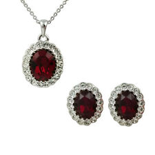 Fashion Jewelry - 18k White Gold Plated Red Crystal Set (FS166)