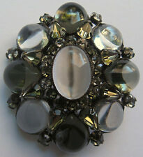 SCHREINER VINTAGE MONOCHROMATIC GLASS CABOCHONS & RHINESTONE DOMED PIN