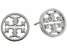 Auth NEW Stunning Tory Burch Silver Circle Logo on Earring Card with Dust Cover