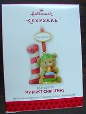 NIB 2013 HALLMARK ORNAMENT MY FIRST CHRISTMAS AGE SERIES QXG1985 NEW BEAR 1st