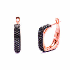 925 Sterling Silver Pave Square Women Clip Earrings with Black Cubic Zircon