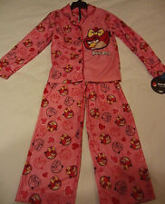 NEW Angry Birds 2pc Pink Pajama Set Shirt & Pants Sleepwear PJ's  Girls S 6 / 6X