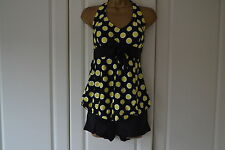 Women 2 Pcs Yellow Spotty Halter Tankini Swimsuit (Size 12)