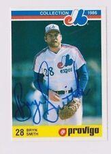 1986 Provigo Bryn Smith Montreal Expos Autographed Baseball Card