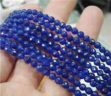 Natural 6mm Faceted Blue Sapphire Gemstone Loose Beads 15' LS-06