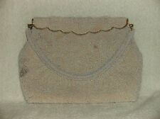 VINTAGE COLLECTIBLE MADE in JAPAN WHITE BEADED EVENING HANDBAG