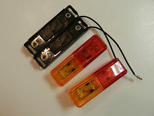 (2) LED Lights 1x4 Surface mount Amber & RED Clearance Marker trailer Optronics
