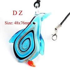 g625149 Designer Women Aqua Lampwork Glass Murano Penguin Bead Pendant Necklace