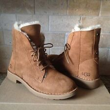 UGG Quincy Chestnut Suede Sheepskin Lace up Ankle Boots Shoes US 10.5 Womens