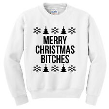 Merry Christmas Bitches Jumper Sweatshirt, Ugly Xmas Jumper, Gift Humor Funny