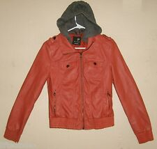 Womens Jrs M FULL TILT Salmon Faux Leather Zipper Front Bomber Jacket Knit Hood