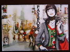 """PASSPORT Cover Case """"Young Lady"""" Travel Wallet  Faux leather Romantic design NEW"""