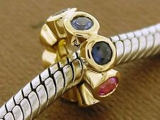 Bd027- GENUINE 9ct Solid Gold NATURAL Rainbow Sapphire Rondelle Bead Charm
