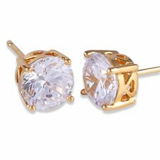 Gorgeous 24K gold filled alluring woman white swarovski crystal stud earring