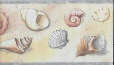 SEASHELLS IN BLUE AND BEIGE TONES WALLPAPER BORDER