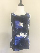 Ann Taylor Blue/Black Silk Blouse Top Size 4