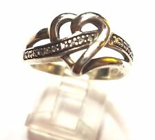 Kay Jeweler Diamond Heart Ring size 8 Sterling Silver