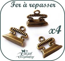 LOT 4 BRELOQUE CHARMS COUTURE FER A REPASSER 3D VINTAGE SCRAPBOOKING PERLE SCRAP