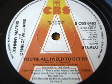 """JOHNNY MATHIS & DENIECE WILLIAMS - YOU'RE ALL I NEED TO GET BY   7"""" VINYL PROMO"""