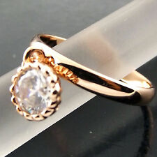 A517 GENUINE REAL 18CT ROSE G/F GOLD LADIES DIAMOND SIMULATED ELEGANT DRESS RING