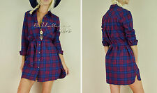 NEW Red Navy COUNTRY BOHO Plaid SOFT Flannel Tunic Button Down Top SHIRT Dress L