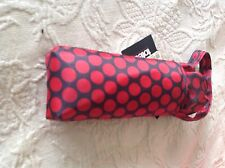 TOTES WOMEN'S UMBRELLA BLACK WITH RED POLKA DOTS  NWT