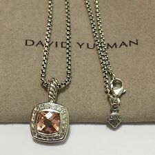 David Yurman Sterling Silver Petite Albion Morganite Diamond Pendant & Chain